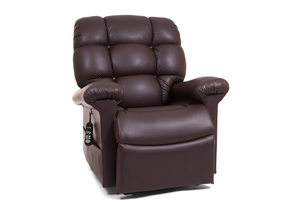 Photo of the Cloud lift chair in the Coffee Bean color sitting.
