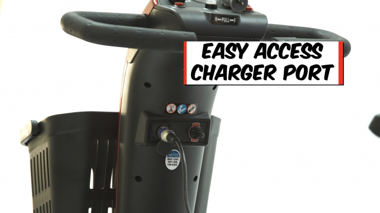 Photo of the Charger Port on the Companion 4-Wheel Scooter.
