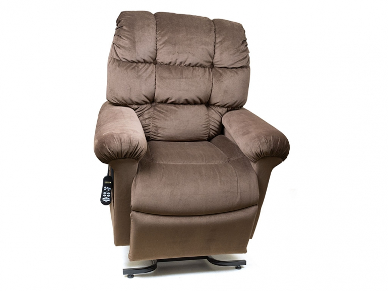 Photo of the Cloud lift chair in brown color.