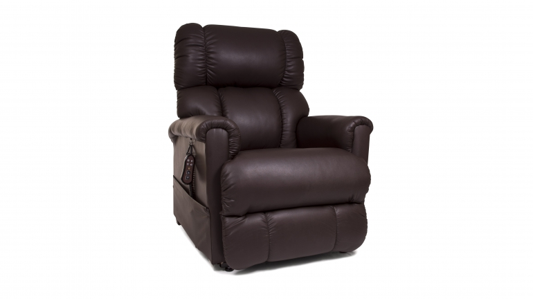Photo of the Imperial lift chair in the Coffee Bean color in the sitting position.