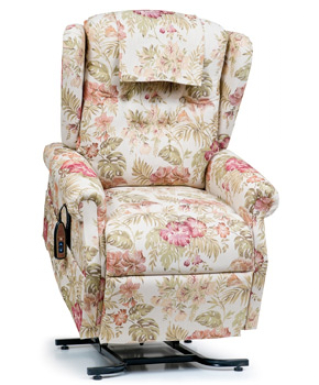 Photo of the Williamsburg lift chair in the island-patterned fabric.