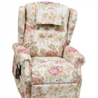 Photo of the Williamsburg lift chair in the island-patterned fabric. thumbnail