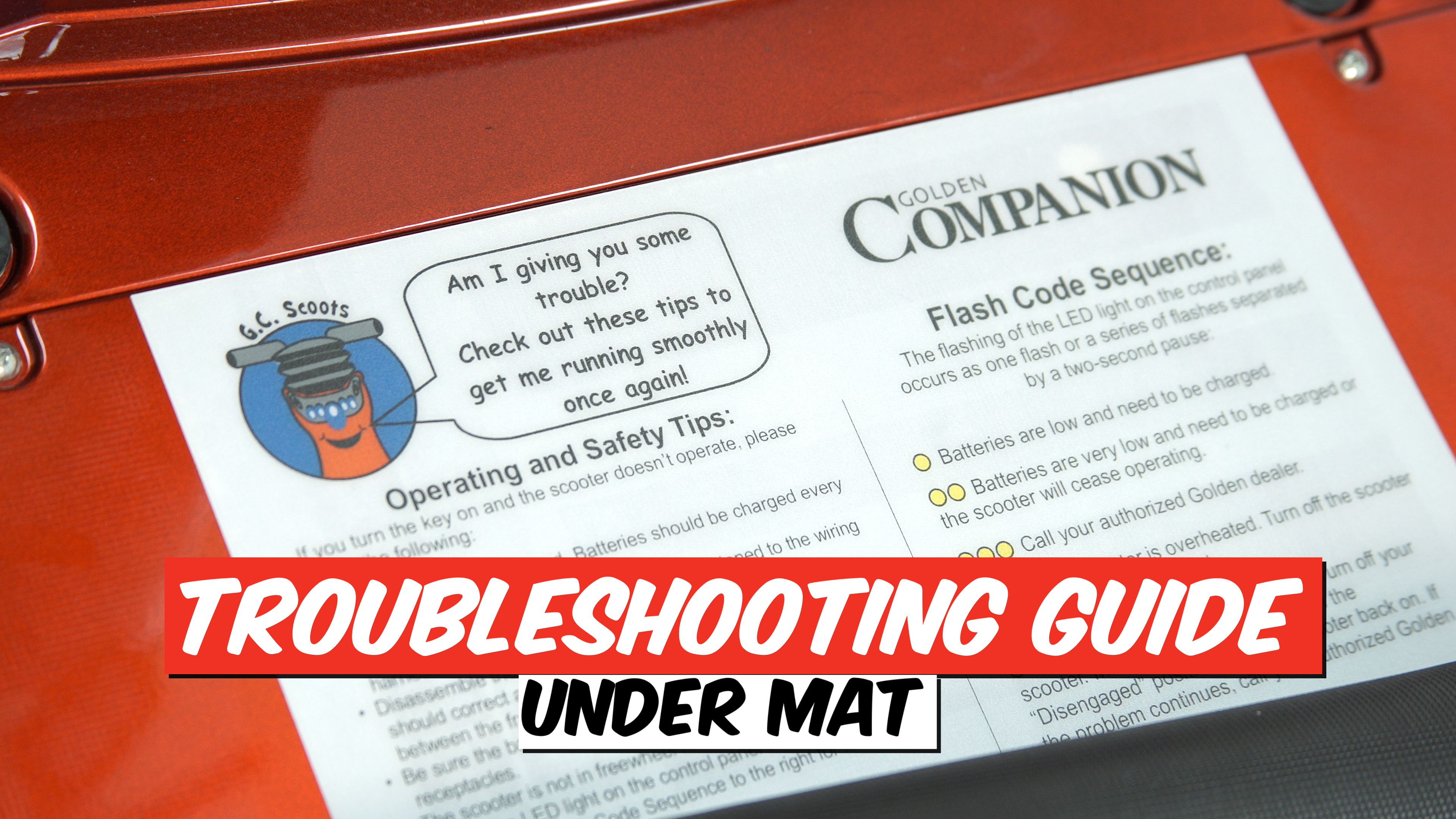 Photo of the guide for troubleshooting under mat.